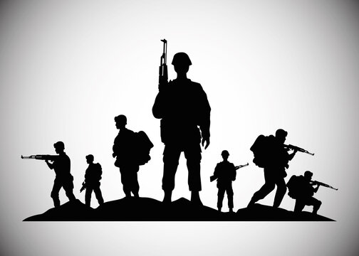 military soldiers with guns silhouettes figures icons