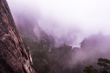 Wonderful and curious sea of clouds and beautiful Huangshan mountain landscape in China.