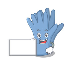 Wall Mural - Cartoon character design of medical gloves holding a board