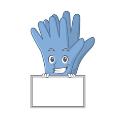 Wall Mural - Medical gloves cartoon design style standing behind a board