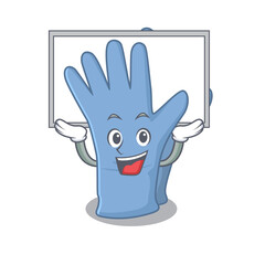 Wall Mural - Caricature character of medical gloves succeed lift up a board