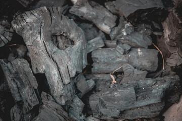 Fotobehang Brandhout textuur firewood in the fireplace