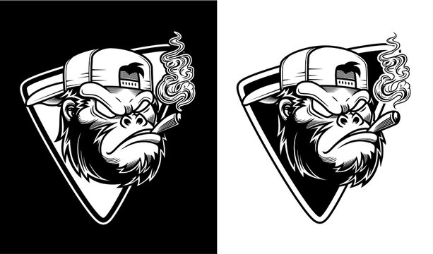illustration of angry gorilla wearing glasses and hat were smoking