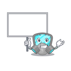 Wall Mural - Cartoon picture of respirator mask mascot design style carries a board