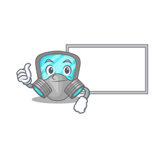 Wall Mural - Respirator mask cartoon design with Thumbs up finger bring a white board