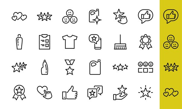 Simple Set Feedback, reviews thin line icons. Evaluation, review, STAR, LIKE and much more, Editable stroke. Vector illustration