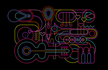Neon colors isolated on a black background Music Instruments vector illustration. Line art silhouettes of guitar, saxophone, piano keyboard, trumpet, trombone, microphone and gramophone.