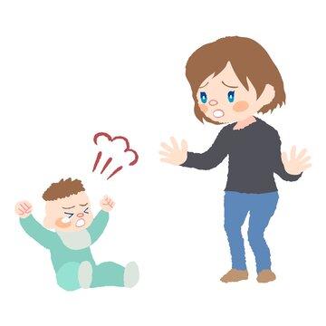 癇癪を起こしている赤ちゃん(発達障害)とお母さんのイラスト