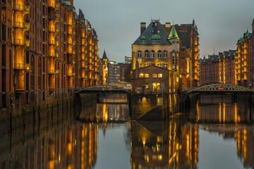 Aluminium Prints Autumn Reflection Of Illuminated Buildings In Water