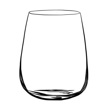 Transparent stemless wine glass hand drawn vector illustration isolated on white background
