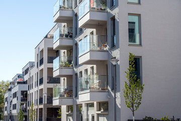 Modern multi-family apartment buildings seen in Berlin, Germany
