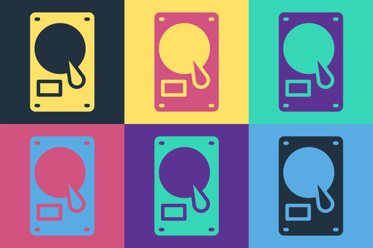 Pop art Hard disk drive HDD icon isolated on color background. Vector Illustration.
