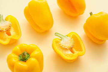 Yellow bell pepper on color background