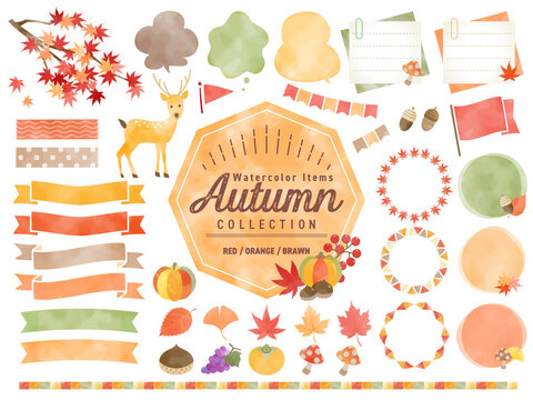 秋、水彩、イラスト、紅葉、食べ物、フレーム 、バナー、吹き出し