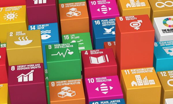 Sustainable Development Goals Blocks-3D Rendered Illustration SDG Icons Symbols for Presentation Article, Website Report, Brochure, Poster for NGO, or Social Movements. 2030.
