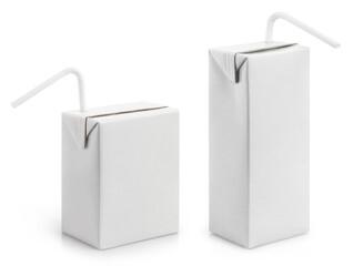 Printed kitchen splashbacks Juice Set of cardboard mini juice packs with plastic tubes, isolated on white background