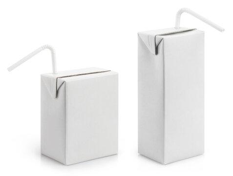 Set of cardboard mini juice packs with plastic tubes, isolated on white background