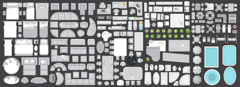 Icons set of interior. Furniture top view. Elements for the floor plan. (view from above). Furniture and elements for living room, bedroom, kitchen, bathroom, office.