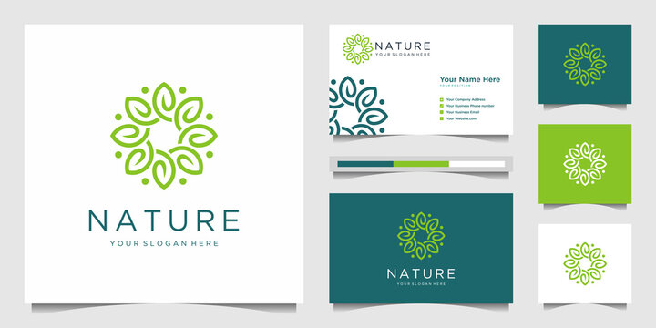 Elegant flower logo design line art. Can be used for beauty salons, decorations, boutiques, spas, yoga, cosmetic and skin care products. premium business card vector