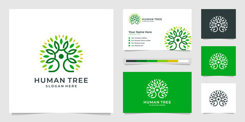 human tree logo design line environmentally friendly people. premium logo designs and business cards.