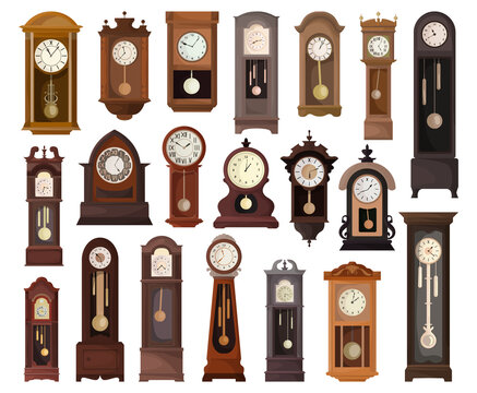 Antique clock isolated cartoon set icon. Vector illustration old watch on white background. Vector cartoon set icon antique clock.