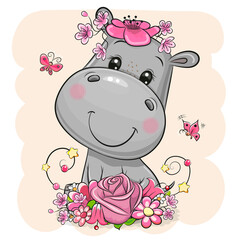 Cartoon Hippo with flowers on a beige background