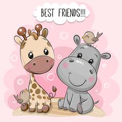 Cartoon Hippo and Giraffe on a pink background