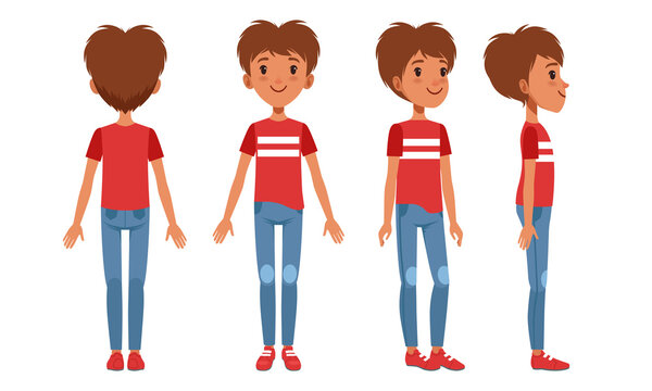 Full Length Portrait of Teenage Boy Character in Fashionable Clothes from Different Sides Front, Back and Side View, Cartoon Style Vector Illustration