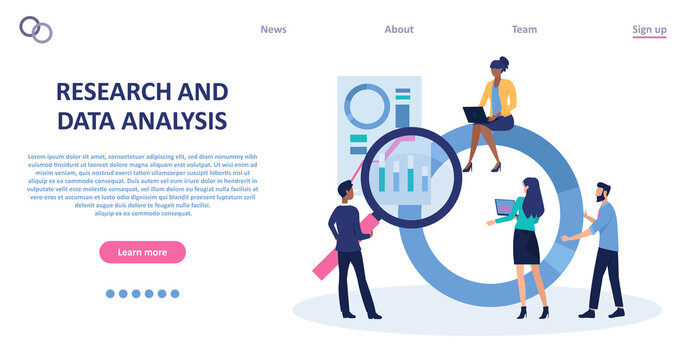 Vector of a business team analyzing financial report