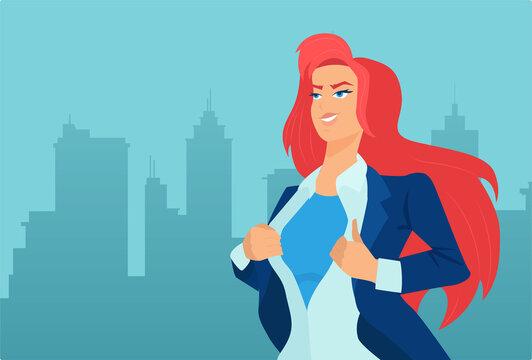 Vector of a super hero businesswoman