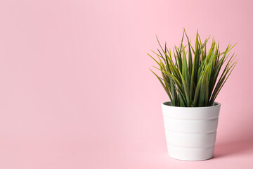 Beautiful artificial plant in flower pot on pink background, space for text