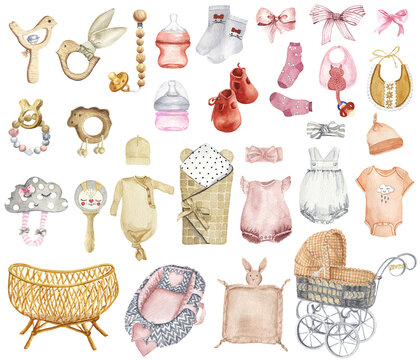 Watercolor Newborn Baby Girl Accessories Clipart. Baby Pink Clothes Clipart. Nursery Baby Shower Clipart. Booties, Bodysuit, Baby Cradle Illustration.