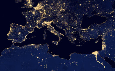 Foto op Plexiglas Noord Europa earth at night, view of city lights in Europe and north africa region arround Mediterranean Sea from space. Elements of this image furnished by NASA.