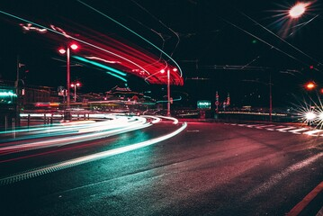 Fotomurales - Light Trails On City Street At Night