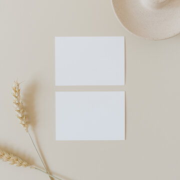 Blank paper sheet cards with mockup copy space and wheat / rye stalks on beige background. Minimal business brand template. Flat lay, top view.