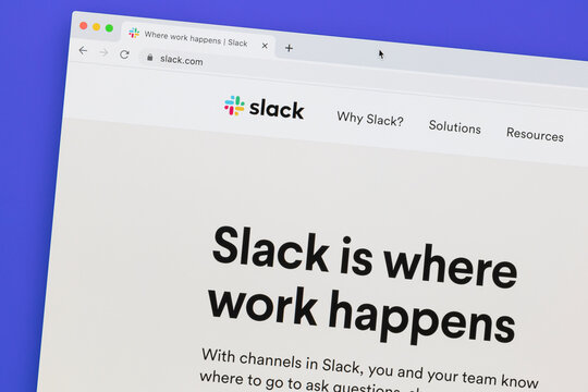 Ostersund, Sweden - July 10, 2020: Slack website. Slack is a B2B software, workplace messenger, team communication tool or platform.