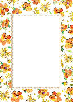 Summer happy colorful watercolor painted paper-cut flowers border frame ornament illustration. A4 A5 A3 international paper slide poster card with free blank copy space for text