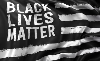 Black lives matter flag blowing in the wind. Full page flying flag.