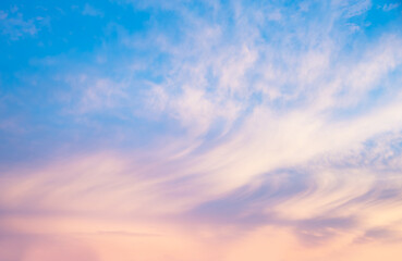 Foto op Canvas Natuur soft blue sunset sky with light pink clouds