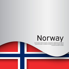 Norway flag on a white wavy background. National poster design of norway. Business booklet. Paper cut style. State Norwegian patriotic banner, flyer. Vector illustration