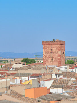Vertical view of the Grand Prior middle ages Tower of the San Juan military order in the town of Alcazar de San Juan, Ciudad Real province, Castilla la Mancha, Spain