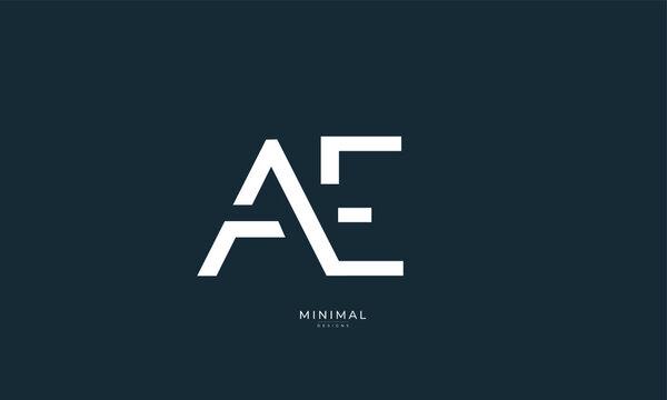 Alphabet letter icon logo AE