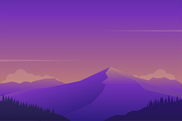 Fond de hotte en verre imprimé Prune Beautiful sunset at mountain landscape scene vector illustration with minimalist design and purple color suitable for background or wallpaper