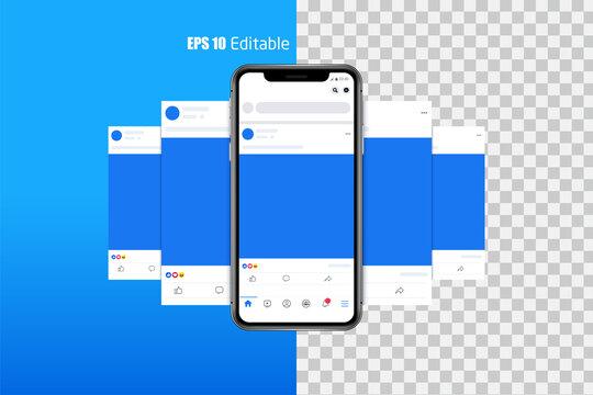 Modern set of social media photo, post frames mock up template, facebook mock up concept vector