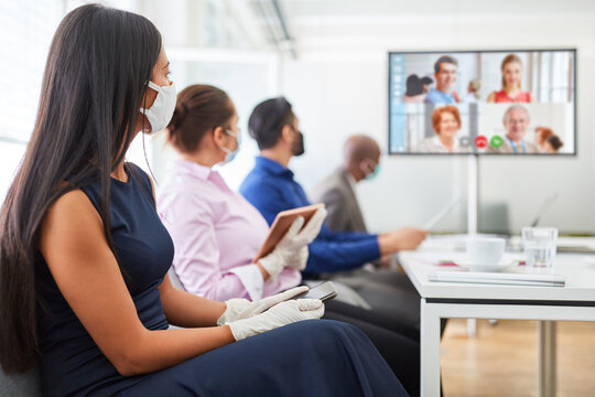 Video conference in the business team meeting