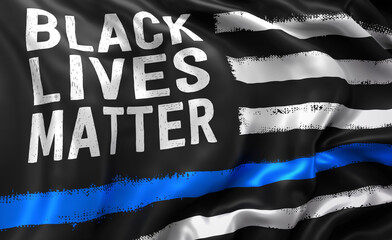 Black lives matter flag, with a blue line, blowing in the wind.