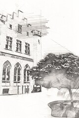 Foto auf AluDibond Gezeichnet Straßenkaffee kolobrzeg old city, town hall, poland art illustration drawing sketch