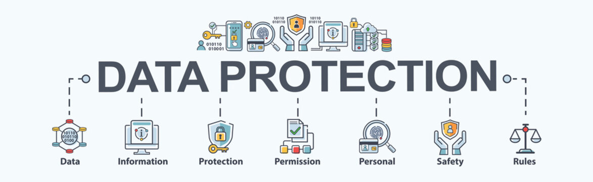 Data protection banner web icon for personal privacy, data storage, information, protection, permission, rules, safety and cyber security. Minimal vector infographic.