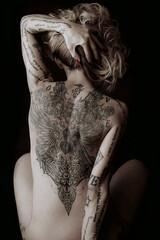 Obraz Rear View Of Woman Against Black Background - fototapety do salonu