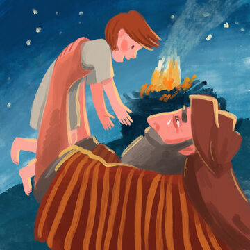 Bible Illustration about Abraham and Isaac.